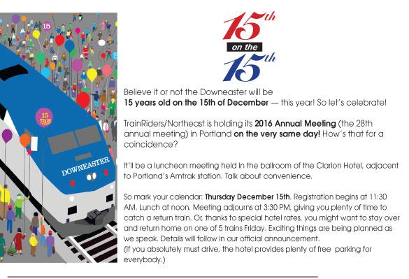 TrainRiders/NE to Celebrate Downeaster's 15th Anniversary on